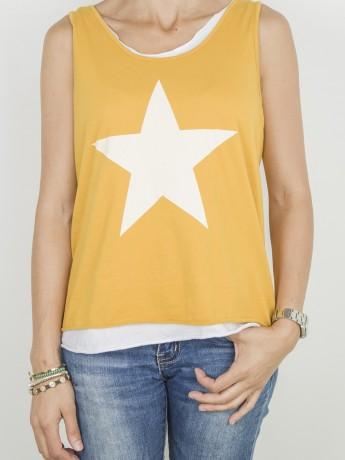 Camiseta de mujer doble con estampado de estrella