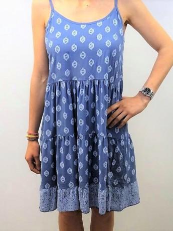 Vestido corto de mujer con dos estampados.