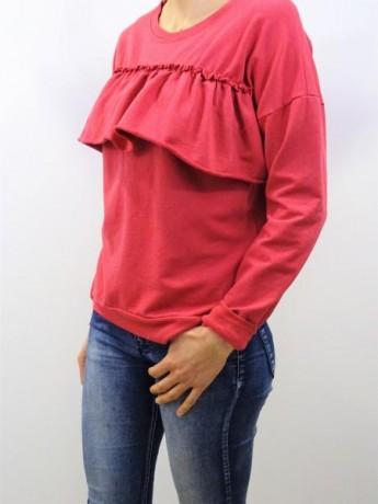Sudadera de mujer manga larga con volante fruncido en el pecho.