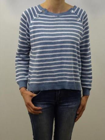 Jersey de mujer manga larga navy con botones.