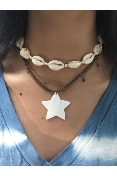 Collar de estrella blanca de nacar