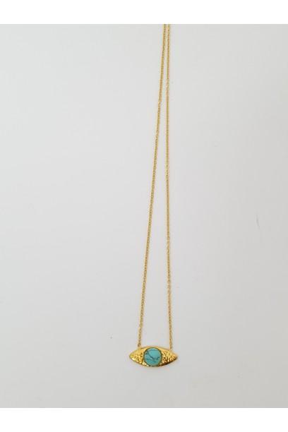 Collar dorado con piedra turquesa