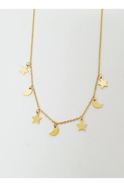 Collar de acero dorado con luna y estrellas