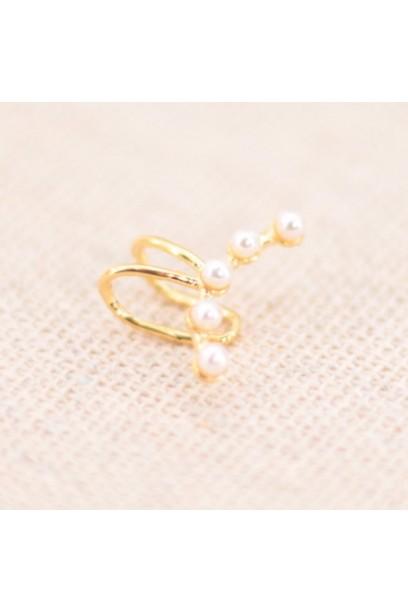 Earcuff dorado con perlas