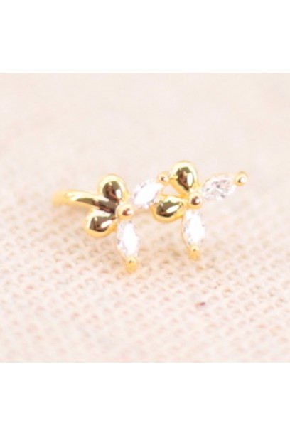 Earcuff dorado con doble flor