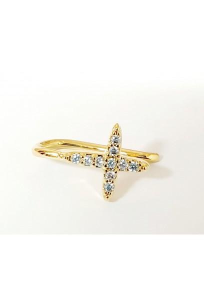 EAR CUFF dorado cruz con piedras