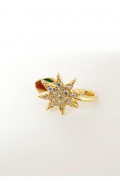 EARCUFF dorado estrella con piedras