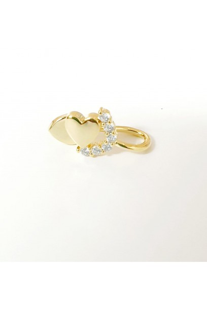Earcuff dorado con corazón y piedras