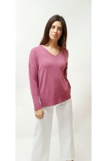 Jersey básico rosa antiguo de cuello pico