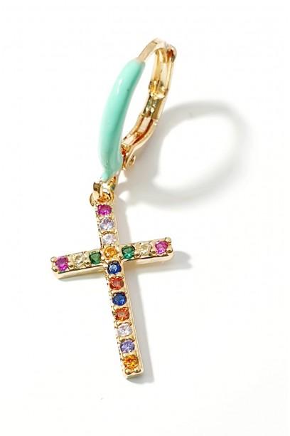 Aro dorado con turquesa y cruz de colores  2×1,5cm