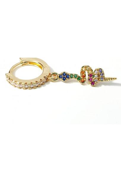 Aro dorado con serpiente y piedras de colores  2×1,5cm