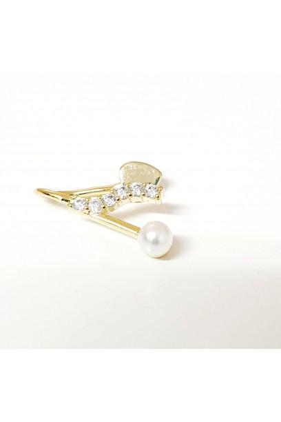 Earcruff dorado con perla y piedras