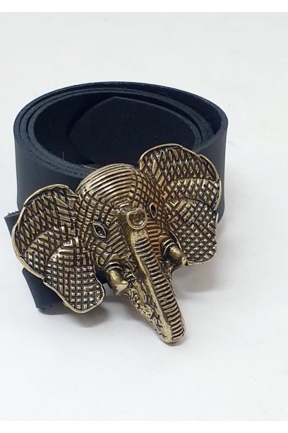 Cinturón de piel negro con hebilla cabeza de elefante