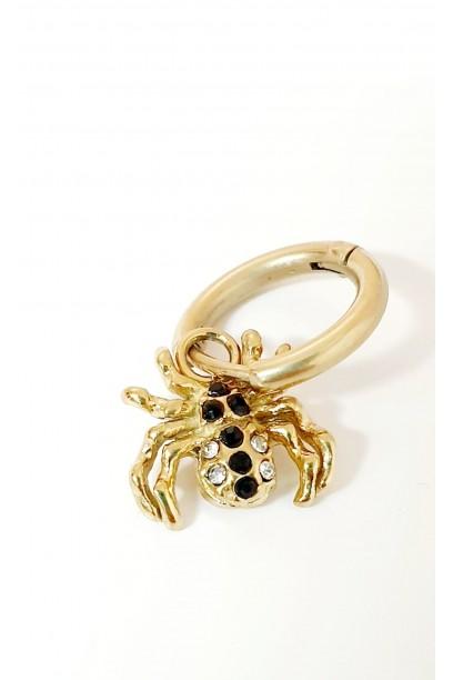 Aro dorado pequeño araña con piedras negras