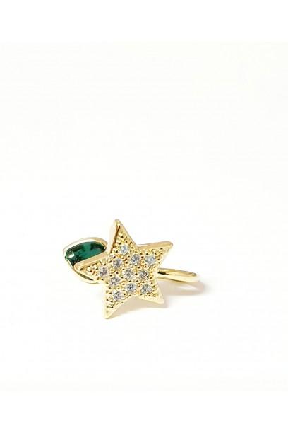 EARCUFF doradode estrella con piedras
