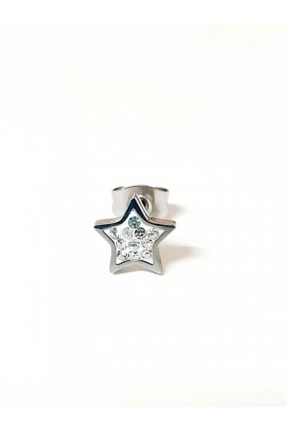 Pendiente plateado con estrella y piedras