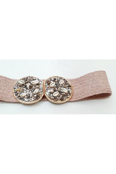 Cinturón con conchas rosa