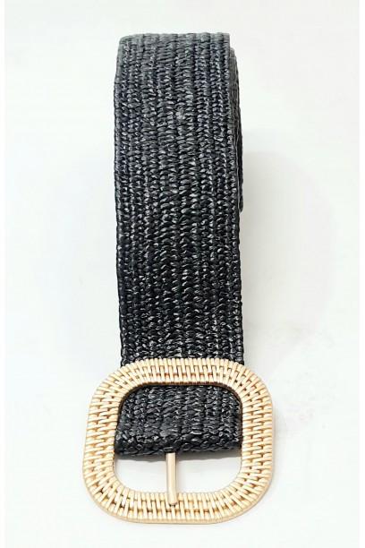 Cinturón de rafia con hebilla negro