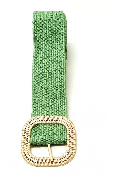 Cinturón verde de rafia con hebilla