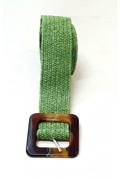 Cinturón de rafia con hebilla  verde