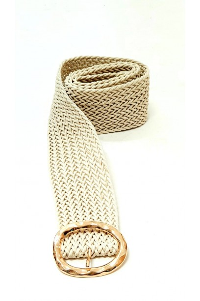 Cinturón de rafia con hebilla beiges