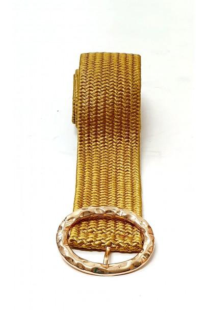 Cinturón de rafia con hebilla mostaza