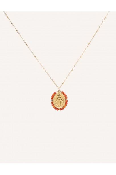 Gargantilla de acero con  la Medallita de la  Milagrosa y piedras corales