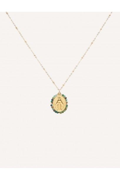 Gargantilla de acero con  la Medallita de la  Milagrosa y piedras verdes