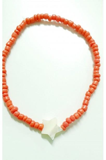 PULSERA elástica con piedras coral y estrella de nacar