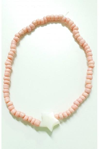 PULSERA elástica con piedras rosa y estrella de nacar
