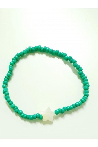 PULSERA elástica con piedras verdes con estrella de nacar
