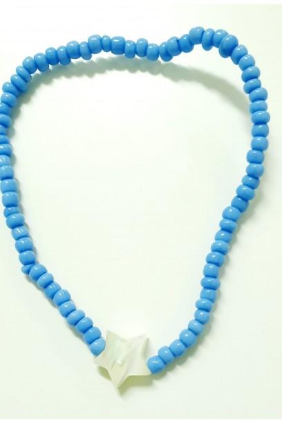 PULSERA elástica con piedras azul jean y estrella de nacar