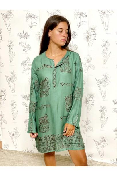Kurta de mujer con tela India verde