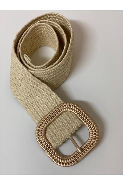 Cinturón beige de rafia con hebilla