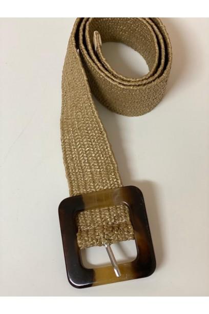 Cinturón topo de rafia con hebilla