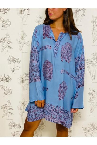 Kurta de mujer con tela India azul