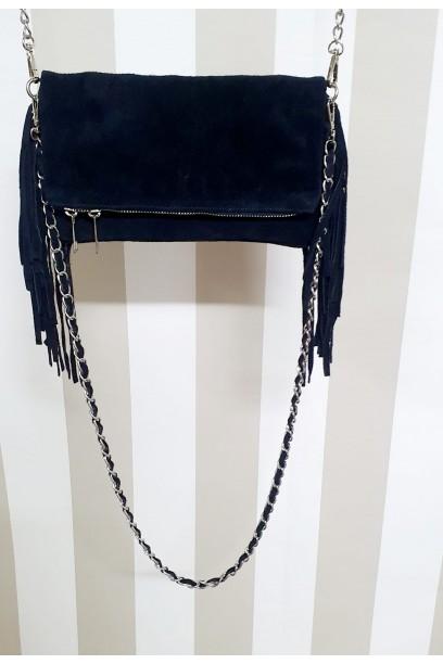 Bolso de piel azul marino con dos cadenas y flecos