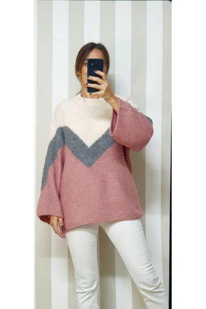 Jersey oversize tres colores rosa