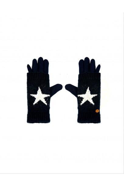 Guantes de estrella forrados azul marino