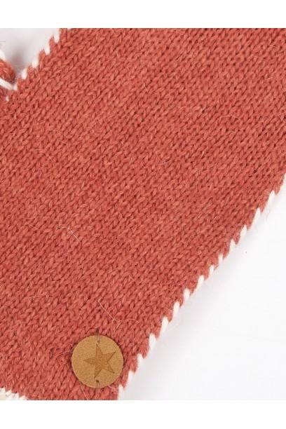 Guantes de lana caldero con pespuntes