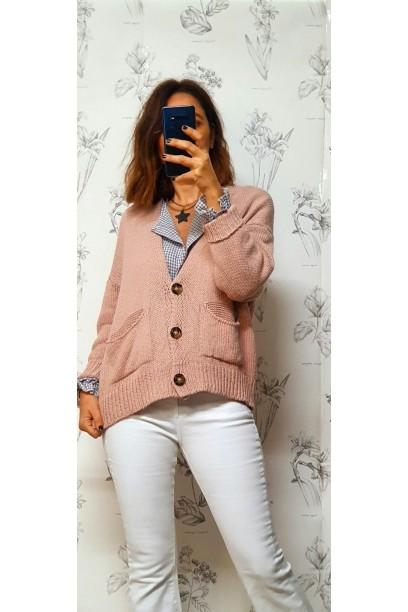 Chaqueta de algodón lisa con botones rosa