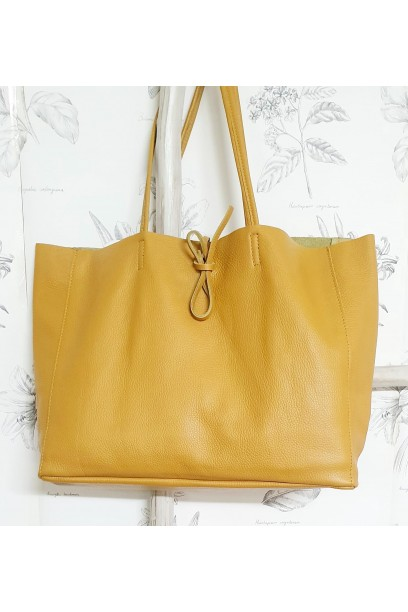 Bolso de piel Personalizado modelos shopping mostaza