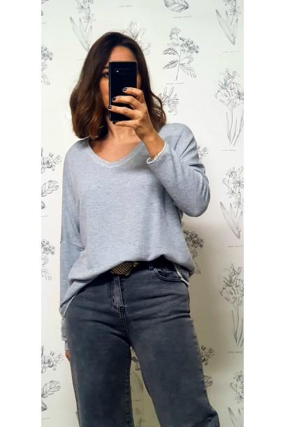 Jersey de mujer gris de canalé con detalle de lurex en el cuello