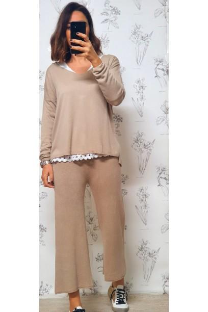 pantalón de punto fino con goma en la cintura beige