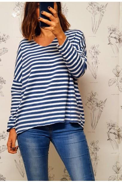 Jersey  oversize de rayas  con cuello  pico azul jeans