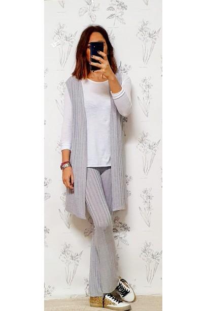 pantalones de punto tipo canalé gris