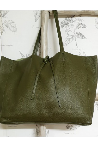 Bolso de piel Personalizado modelos shopping verde militar