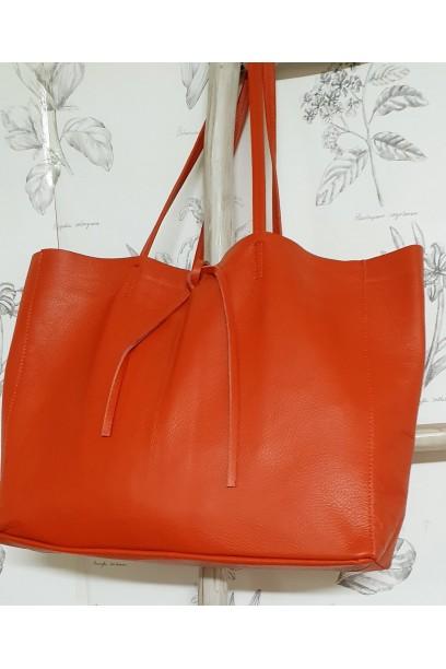 Bolso de piel  modelos shopping naranja  con opción de personalizarlo