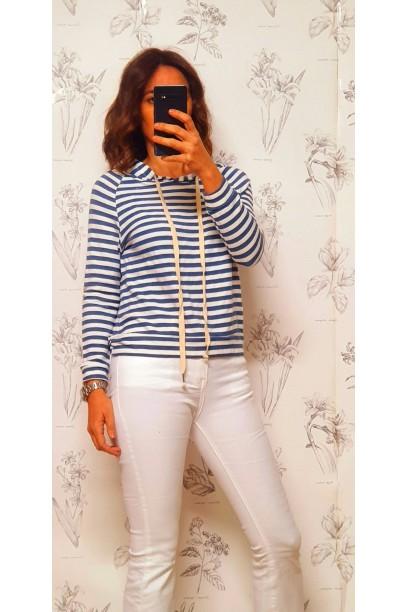 Sudadera de rayas con capucha azul jeans