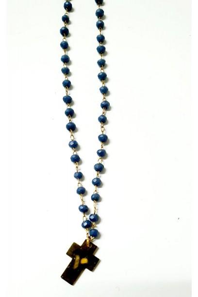 Gargantilla de acero con cruz y piedras azules
